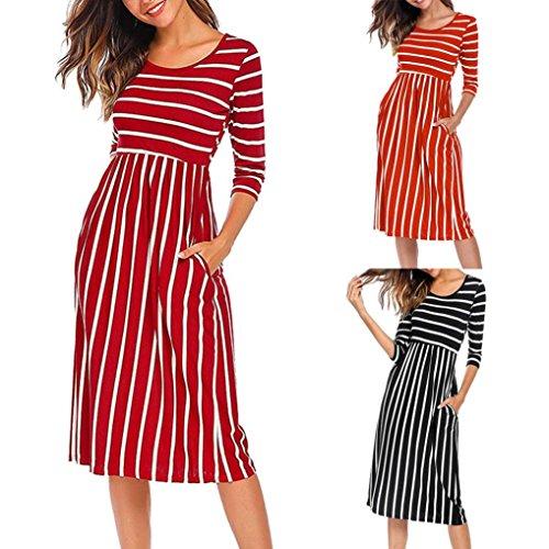 Lazzboy Women Stripe Elastic Waist Three Quarter Sleeve Pocket Casual Dress