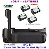 Kastar Pro Multi-Power Vertical Battery Grip (Replacement For BG-E7) + 4x LP-E6 Replacement Batteries For Canon EOS 7D (Not For Mark II) Digital SLR Camera