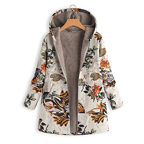 LoveLeiter Frauen Vintage Damen Fleece Dick Mantel Hoodie Pullover Strickjacke Winterjacke Dicke Wollmantel Outwear Floral Print Hooded Oversize Winter Parka Wintermantel Warm Winterjacken(Orange,S) Fleece Vintage Blazer