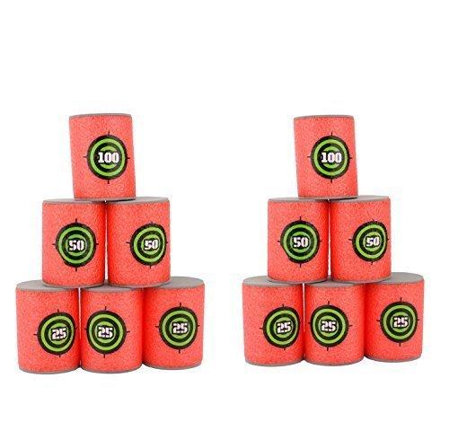 yosoor-12-pezzi-lattine-schiuma-tiro-a-bersaglio-per-giocattolo-pistole-nerf-n-strike-elite-rosso