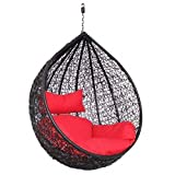 Hindoro Hanging Balcony Single Seater Swing with Cushion (Standard, Red) Amazon deals