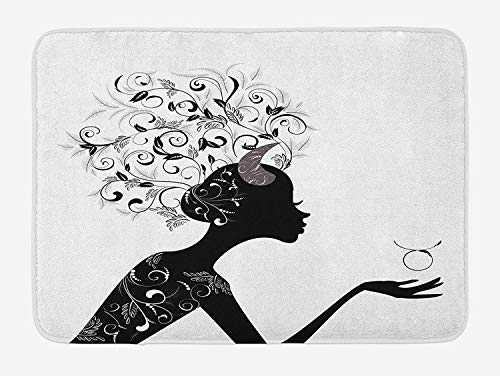 Bath Mat, Fashion Girl Black Silhouette with Floral Hairdo and Dress Modern Icon, Plush Bathroom Decor Mat with Non Slip Backing, 23.6 W X 15.7 W Inches, Black and White ()