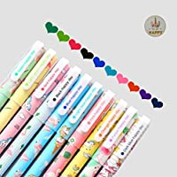 EUGU 5 Unicorn Gel Pens and 5 Flamingo Gel Pens,Cute Unicorn Gift for Girls,0.5mm Fine Point Pen,10 Ink Color