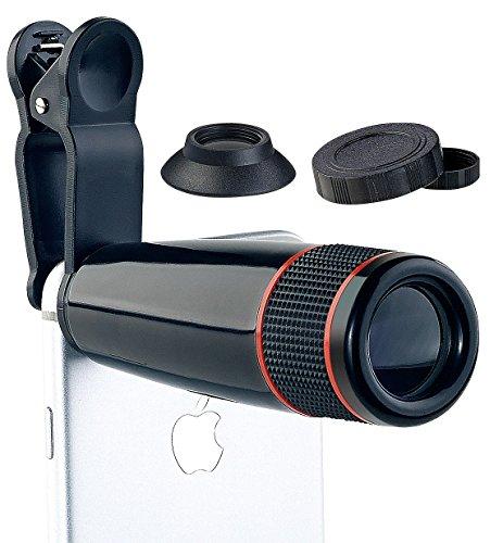 Somikon Teleobjektiv: Smartphone-Vorsatz-Tele-Objektiv mit 12-fach optischer Vergrößerung (iPhone Objektiv)