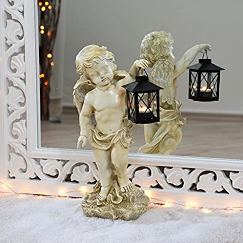 Ange Statue avec lanterne 39cm imperméable pour l'intérieur et l'extérieur