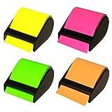 4er Pack Haftnotiz-Abroller Breite: 60 mm, 4 Abroller mit ca. 10 m Haftnotizen in Neonfarben, Klebezettel Postit Haftnotizblöcke Notizblöcke