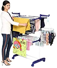 Happer Premium 2 Layer Cloth Drying Stand with Breaking Wheels, Compact Jumbo (Blue)