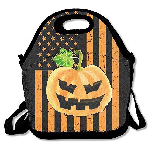 Zucca di halloween e bandiera usa funny lunch bag tote borsetta portapranzo per scuola lavoro all' aperto