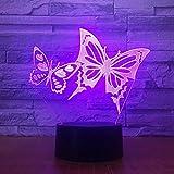 Jinson well 3D schmetterling Lampe optische Illusion Nachtlicht, 7 Farbwechsel Touch Switch Tisch Schreibtisch Dekoration Lampen perfekte Weihnachtsgeschenk mit Acryl Flat ABS Base USB Kabel kreatives Spielzeug