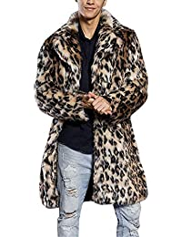 069b64598355 Bellelove Manteau à Manches Longues pour Hommes Manteau Coupe-Vent léopard Chaud  Manteau col de Fourrure épais Veste Fausse Fourrure…