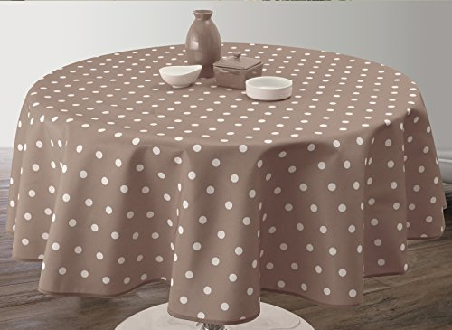 Nappe Anti-Taches Pois Taupe - taille : Ronde diamètre 180 cm