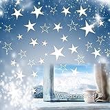 Wandschnörkel® 80 Sterne in WEISS Aufkleber Fensterbilder Schaufensteraufkleber Weihnachten Fensterdekoration.XXL Set Größe3,5cm -15cm Durchmesser.