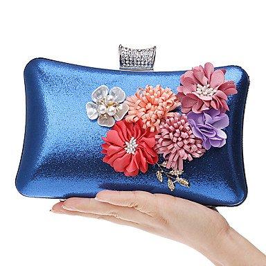 Woman Fashion Blumen Abendessen Abend Tasche Blue