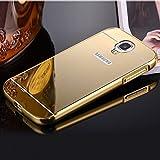 TECHILUV™ Premium Luxury Metal Bumper Acrylic Mirror Back Cover Case For Samsung Galaxy S4- Gold