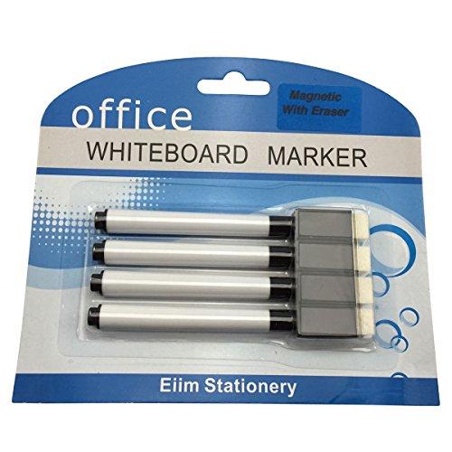 4-black-magnet-white-board-whiteboard-marker-pens-dry-erase-easy-wipe-eraser