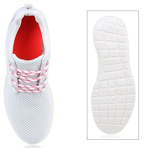 Damen Sportschuhe Laufschuhe Profilsohle Print Runners Weiß