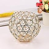 Dore Chandelier Boule Cristal Porte-bougie Romantique Décoration Table pour Mariage (S -10.5*10.5*10cm)