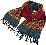 Guru-Shop Weicher Pashmina Schal/Stola, Schultertuch, Herren/Damen, Inka Muster Rot/grau, Synthetisch, Size:One Size, 200x60 cm, Schals Alternative Bekleidung