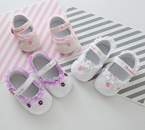 5Five Sweet cotton flowers printed lace soft soled baby shoes 6-12 Monday baby girl White