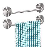 mDesign Juego de 2 toalleros de baño sin taladro – Toallero adhesivo de acero inoxidable para cocina – Perfecto como colgador de toallas para baño y para los paños de cocina – plateado mate