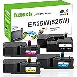 Aztech 4 Pack Kompatibel für Toner Dell E525W Schwarz Cyan Magenta Gelb Dell E525W Toner Druckerpatronen Dell E525W E525 E 525W E 525 W Toner (4 Pack - 593-BBLN 593-BBLL 593-BBLZ 593-BBLV)