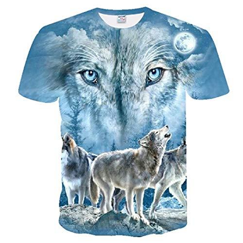 Männer Wolf Druck 3D T Shirts Neuheit Tier Tops Tees Kurzarm Sommer Oansatz T-Shirts TXUO-250 European Size XXS (Assassin's Creed 2 Alle Kostüme)