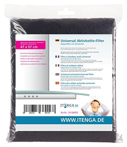 Kohlefilter (itenga universal Aktivkohlefilter / Aktiv-Kohlefilter für jede Dunstabzugshaube geeignet- zuschneidbar - 47x57cm - Set Fettfilter + Aktivkohle für geruchsfreie Küche)