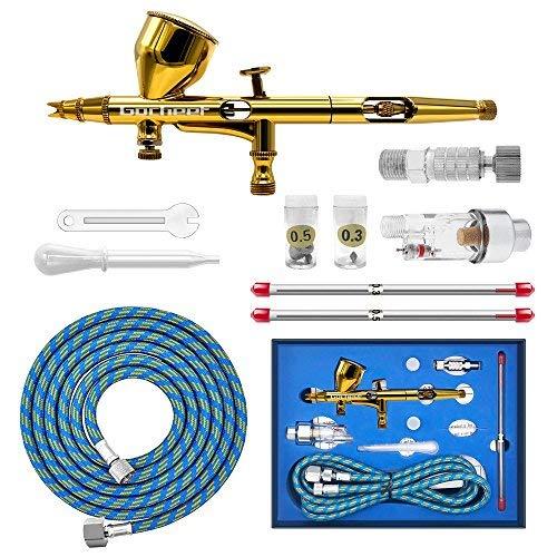 (Gocheer Airbrush Pistolen Set-Double Action Airbrush Spray Kit,mit Luftfilter schnellkupplung,3 verschiedene Düsen und Nadeln(0.2,0.3,0.5mm)für Airbrush-Tätowierung,Nageldesign Makeup Handwerk Kuchen)
