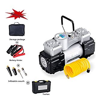 WCYTIRES Tyre Inflator-AUPERTO Digital Air Compressor with LED Light,Portable Car Pump - 12V, 150 PSI,3M Cord