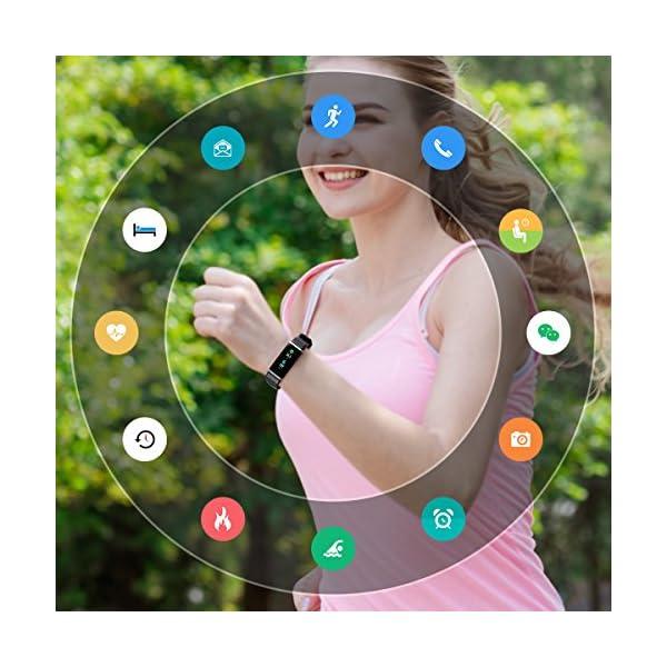 LATEC Pulsera Actividad, Pantalla de Color Pulsera Inteligente Impermeable IP68 con Visualización del Tiempo 14 Modos de… 14