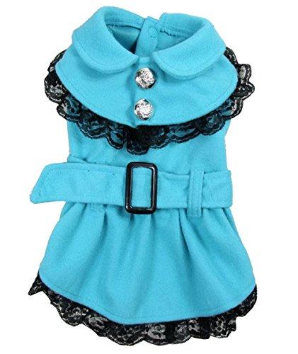 zunea Prinzessin Mädchen aus Wolle Kleiner Hund Katze Coat Jacke Parka Schneeanzug Warm Spitzenbesatz Puppy Winter Kleid Plissee Haustier Kleidung Bekleidung