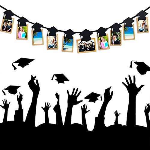Homankit Abschluss Foto Banner Partyzubehör - Abschluss-Hut Geformt Girlanden Luftschlangen Foto-Prop mit Clips für Abschlussfeier Hängende Dekoration