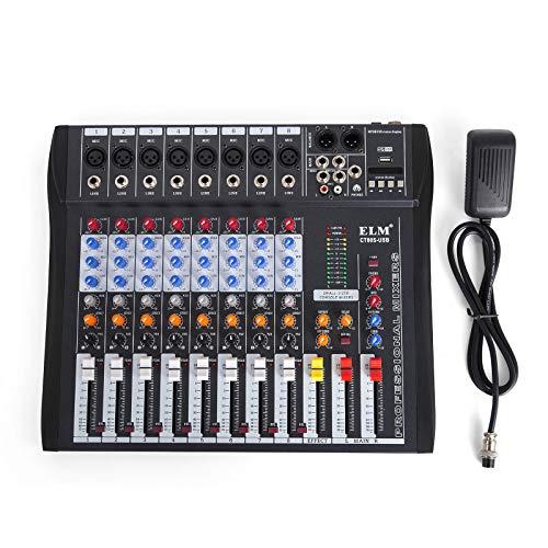 GIOEVO Mixer Audio 48V Mixing Console Mixer Audio USB MP3 Per Registrazione DJ Karaoke Music Apprezzamento (12 Channel) (8 Channel)