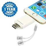 #10: Drumstone i-Flash Device HD SD Memory Card Reader Adapter USB 8-pin Port Flash Drive Memory Stick with Lightning Dual Lightning Audio Cable + Charger Port , Support Music Control, Charger and Phone Communication Compatible With Apple Devices (One Year Warranty)