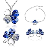 Valentine Gift By Shining Diva Value For Money Silver Plated Austrian Crystal Necklace, Earrings, Bracelet, Brooch Jewellery Set