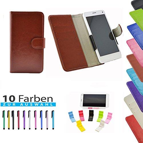 5 in 1 set Slide Tasche Hülle Case Cover Schutz Cover Etui Braun für Haier Phone L52