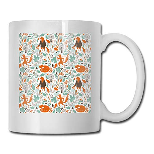 Jolly2T Funny Ceramic Novelty Coffee Mug 11oz,Funny Sleeping Fashion Fox Figures Falling Autumn Leaves Graphic Garden,Unisex Who Tea Mugs Coffee Cups,Suitable for Office and Home