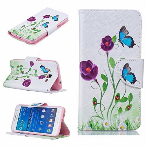 Ougger Coque Samsung Galaxy Grand Prime G530F Etui, Housse PU Cuir Magnétique Silicone Protecteur Flip Pochette Caoutchouc Cover avec Fente pour Carte, 7