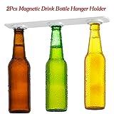 Magnético cerveza soporte, Soporte magnético 2pcs Botelleros de ahorrar espacio y organizar a la nevera techo y redes, Accesorio de cocina flotante
