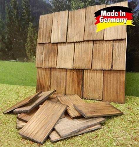 WeWi 200 Stück Dachschindel, handgeschlagen, nussbaumfarben 4x2,3x0,3cm - Krippen