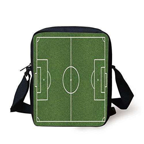 Teen Room Decor,Soccer Field Grass Motif Stadium Game Match Winner Sports Area Print,Fern Green White Print Kids Crossbody Messenger Bag Purse -