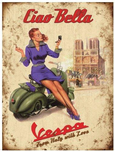 Vespa Logo Ciao Bella Blechschild Stabil Flach Neu 30x40cm S102 (Vintage Fahrrad Kennzeichen)