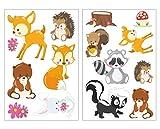 plot4u 15-teiliges Süße Waldtiere Wandtattoo Set Kinderzimmer Babyzimmer Bär-chen in 5 Größen (2x16x26cm Mehrfarbig)