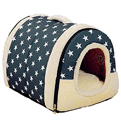 RiseSun Soft Warm Star Pattern 2 in 1 Pet Nest Non-slip Dog Cat Bed Foldable Winter Soft Cozy Sleeping Bag Mat Pad Cushions (Give a Toy of a Dog's Bone,Color Random) from RiseSun