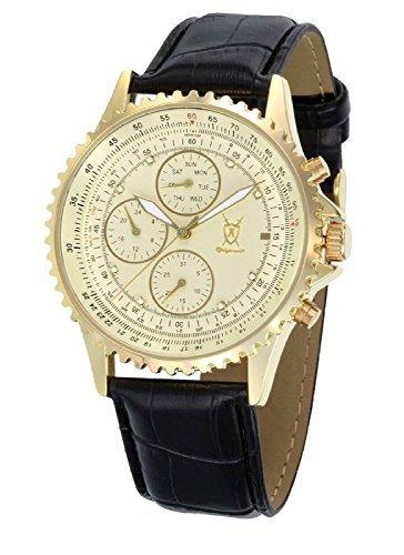 Konigswerk Herrenuhr Gold Lederband schwarz großes Ziffernblatt mit Kristall-Marker Multifunktion Tag Datum Konigswerk SQ201422G