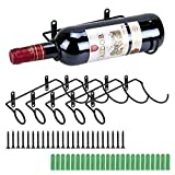 Bstkey, set di 6 portabottiglie da parete in ferro, portabottiglie da vino rosso, per adulti e liquori, in metallo