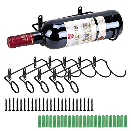 BSTKEY Set von 6 Weinflaschenhalter aus Eisen, zur Wandmontage - Rotwein, für Erwachsene Getränke, Likörflaschen, Flaschenhalter aus Metall -