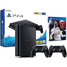 PS4 Slim 1Tb Negra Playstation 4 Consola - FIFA 18 + 2 Mandos Dualshock 4