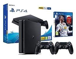 PS4 1TB Slim PlayStation 4 Konsole inkl. FIFA 18 + 2 DualShock Controller