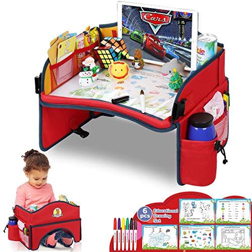 Lenbest Vassoio di Viaggio da Toddler, Può Stare in Piedi Tavolo da Gioco da Viaggio - Auto, Vassoio, Passeggino - Può Disegnare Sulla Parte Superiore - Giallo e Rosso